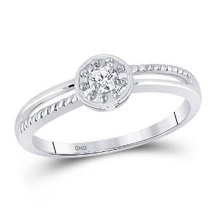 10kt White Gold Round Diamond Solitaire Promise Bridal