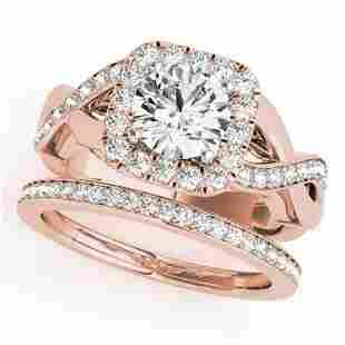 235 ctw VSSI Diamond 2pc Wedding Set Halo 14K Rose