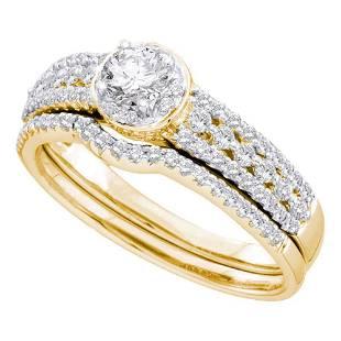 14kt Yellow Gold Round Diamond Bridal Wedding