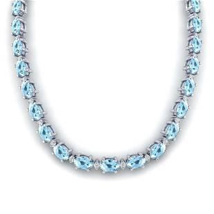 375 ctw Aquamarine VSSI Diamond Eternity Necklace