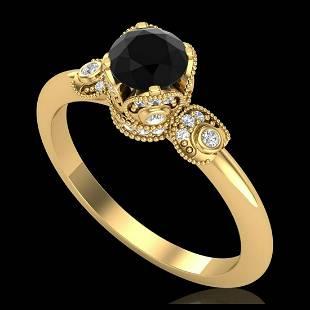 1 ctw Fancy Black Diamond Art Deco Ring 18K Yellow Gold