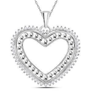 14kt White Gold Round Diamond Beaded Heart Pendant 1/4