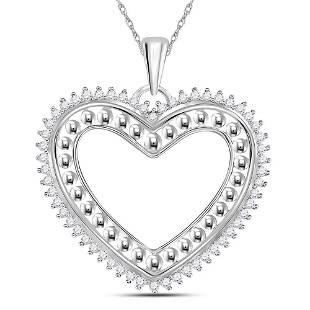 14kt White Gold Round Diamond Beaded Heart Pendant 14