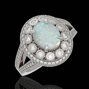393 ctw Opal Diamond Ring 14K White Gold