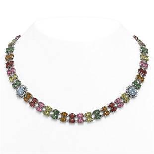 6529 ctw Sapphire Diamond Necklace 14K White Gold