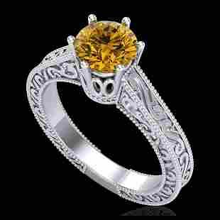 1 ctw Intense Fancy Yellow Diamond Art Deco Ring 18K