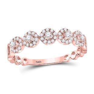 10kt Rose Gold Round Diamond Halo Stackable Band Ring