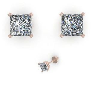 103 ctw VSSI Princess Cut Diamond Earrings 18K White