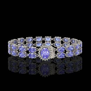 2822 ctw Tanzanite Diamond Bracelet 14K White Gold