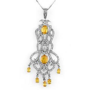 765 ctw Yellow Sapphire Diamond Necklace 14K White