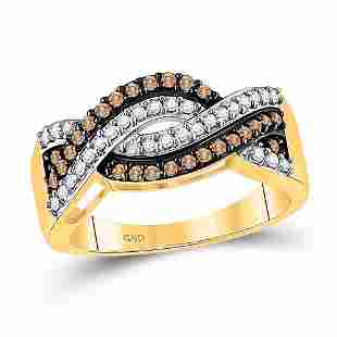 10kt Yellow Gold Round Brown Diamond Crossover Band