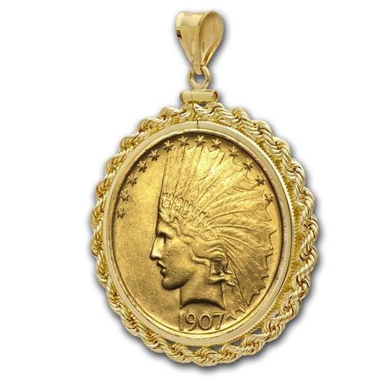 $10 Indian Gold Eagle Pendant (Rope-ScrewTop Bezel)