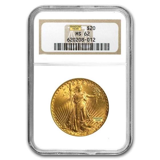$20 Saint-Gaudens Gold Double Eagle MS-62 NGC (Random)