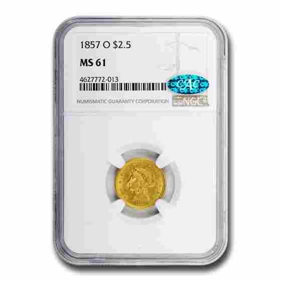 1857-O $2.50 Liberty Gold Quarter Eagle MS-61 NGC CAC