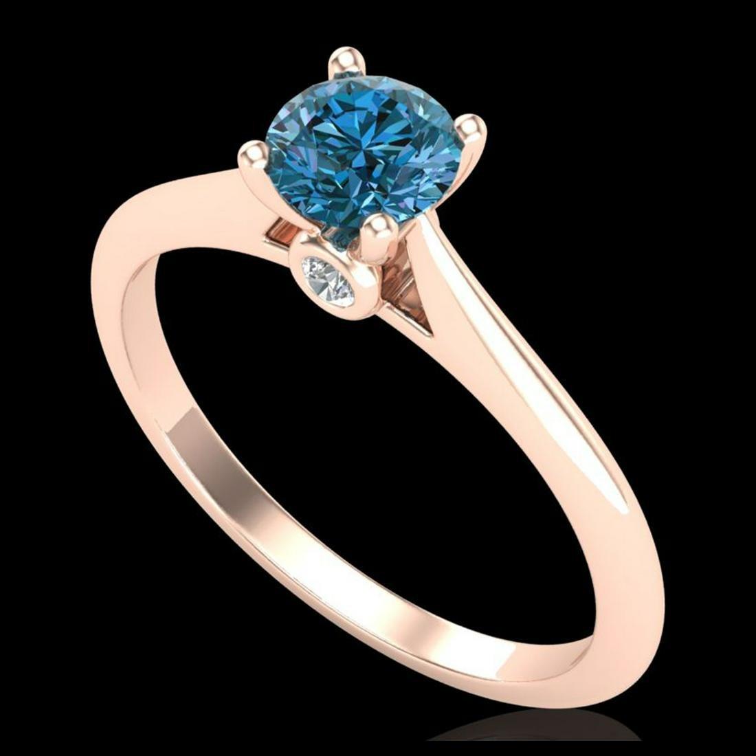 0.56 ctw Fancy Intense Blue Diamond Art Deco Ring 18K