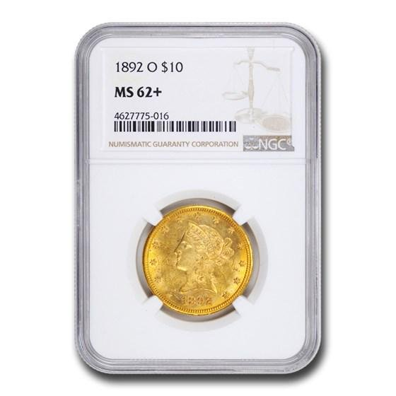 1892-O $10 Liberty Gold Eagle MS-62+ NGC