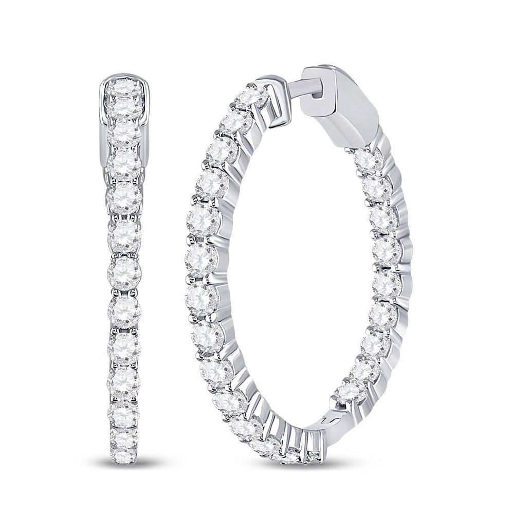 14kt White Gold Round Diamond Inside-Outside Hoop