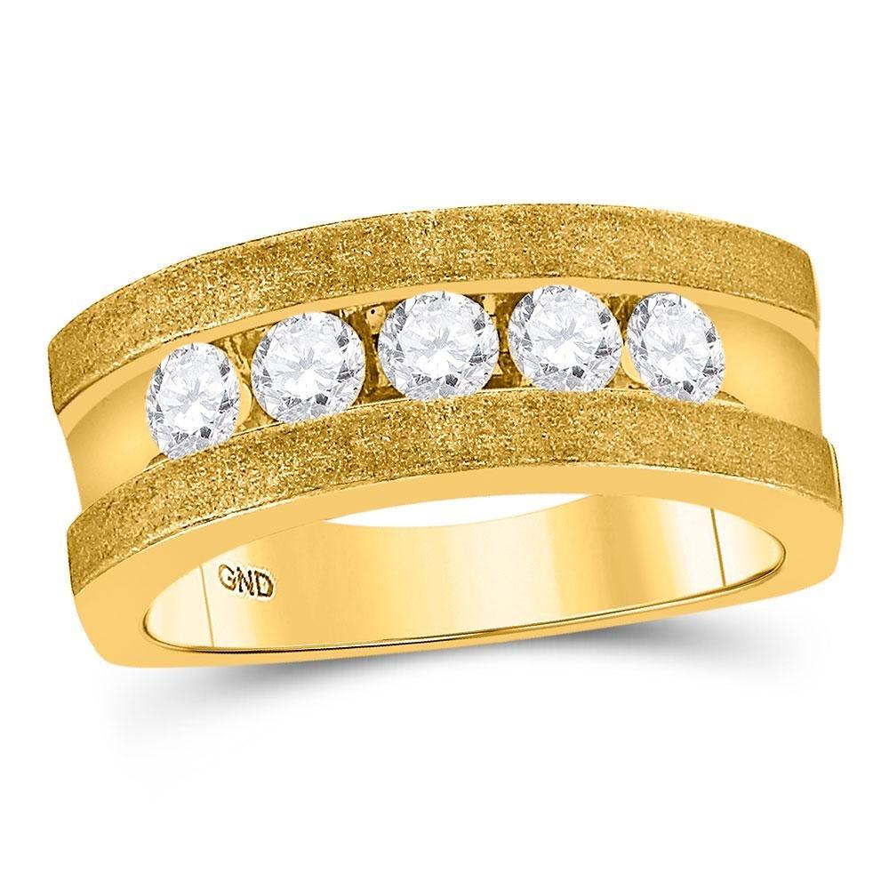 10k Yellow Gold Mens Round Diamond Single Row 5-Stone