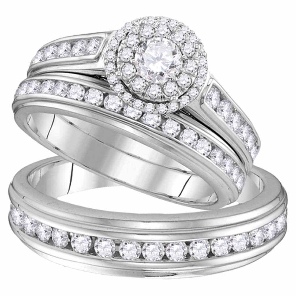 10kt White Gold His & Hers Round Diamond Solitaire