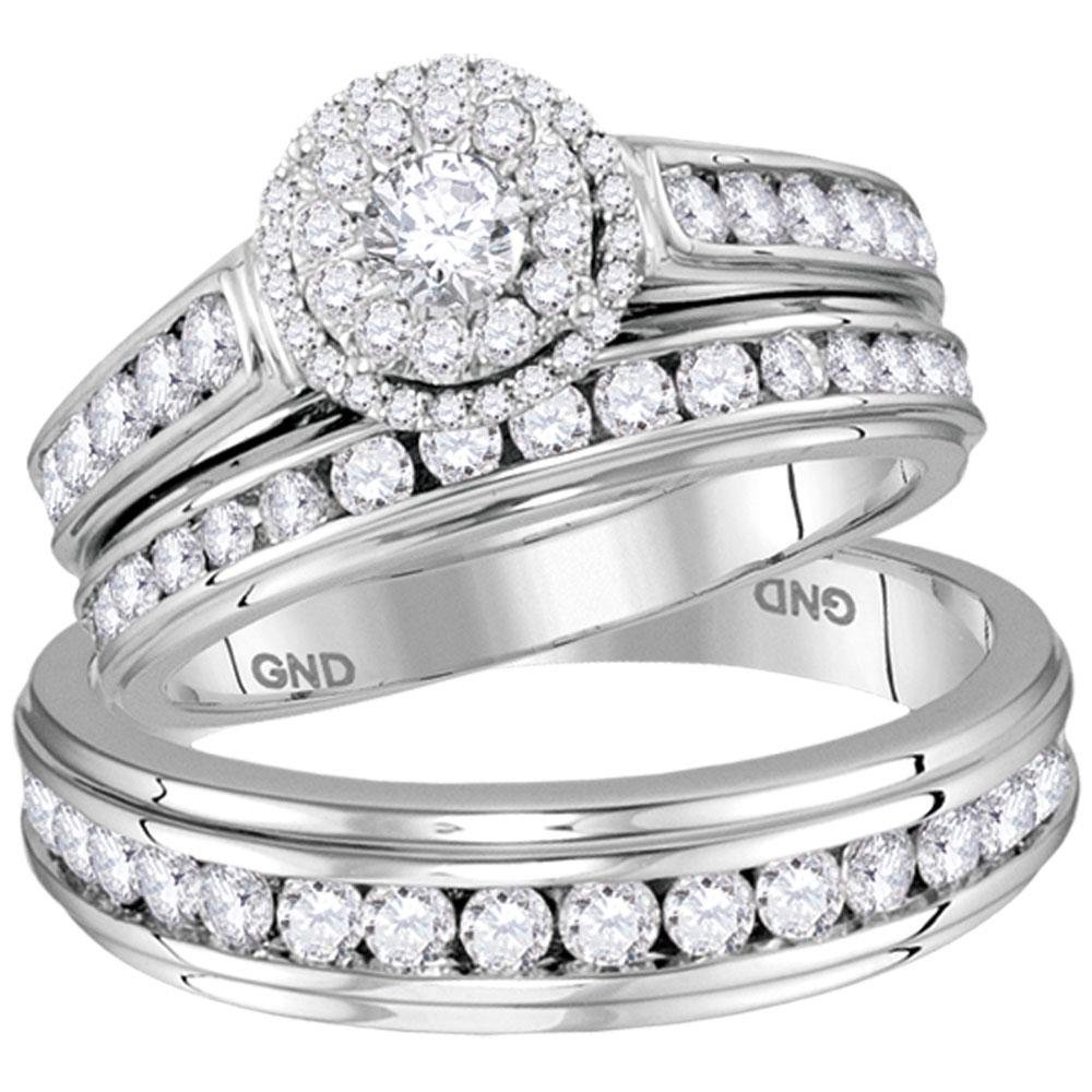 14kt White Gold His & Hers Round Diamond Solitaire