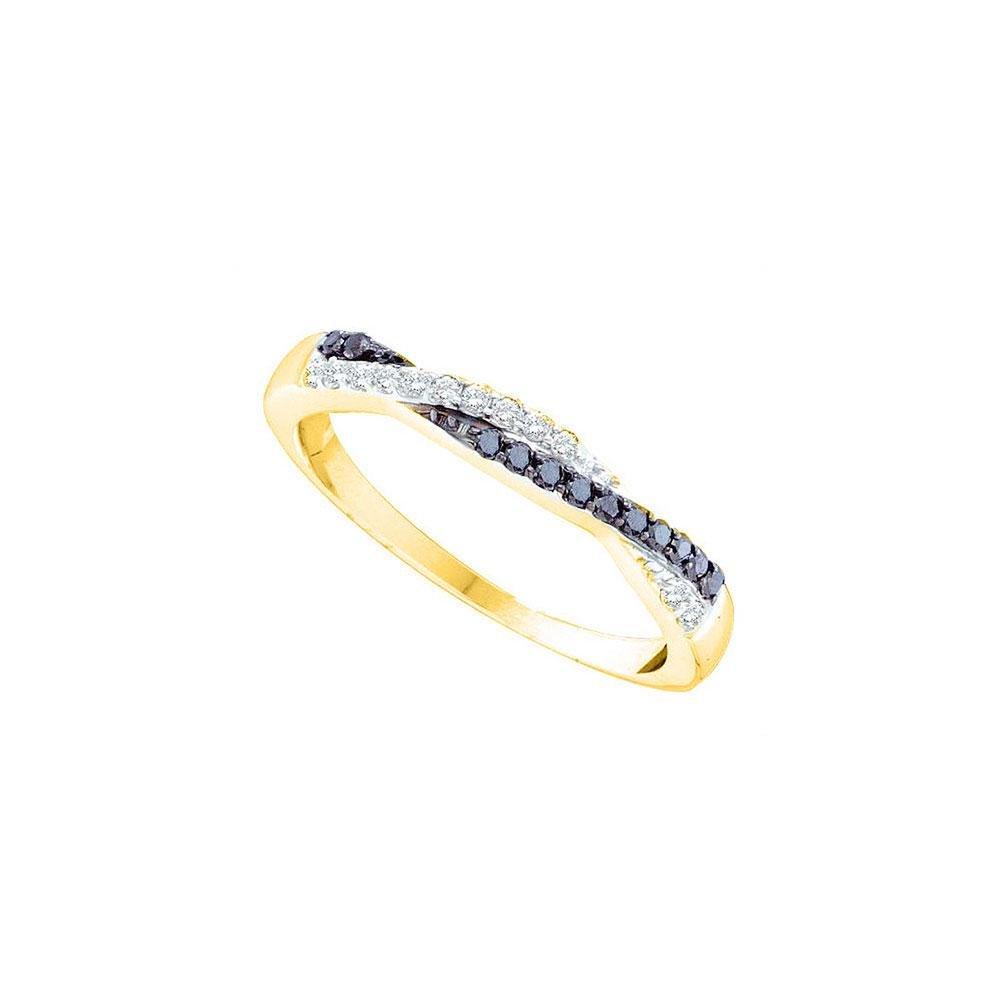 14kt Yellow Gold Round Black Color Enhanced Diamond