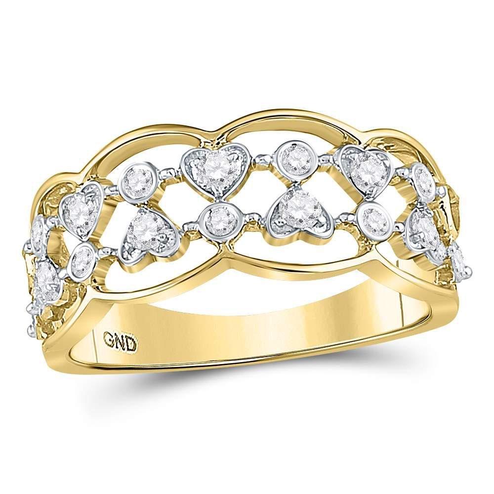 14kt Yellow Gold Round Diamond Double Row Heart Dot