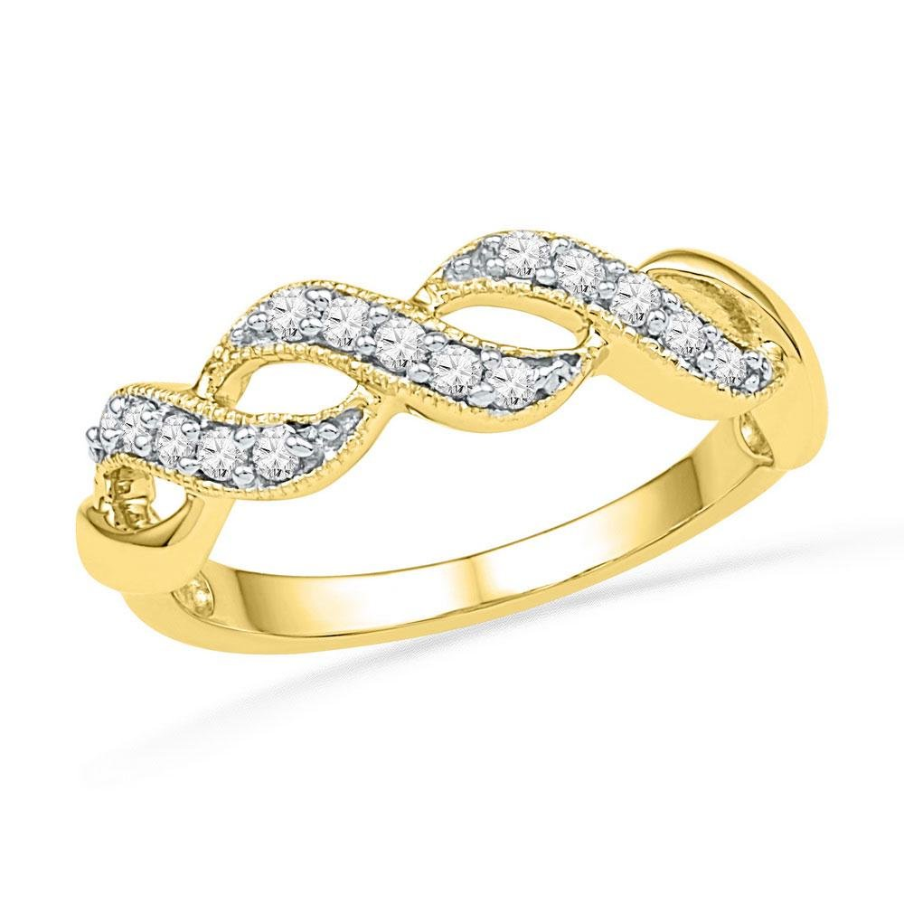 10kt Yellow Gold Round Diamond Crossover Band Ring 1/5