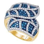 10kt Yellow Gold Round Blue Color Enhanced Diamond Leaf