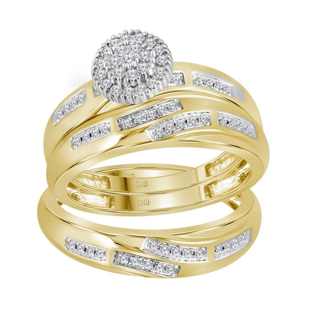 14kt Yellow Gold His & Hers Round Diamond Cluster
