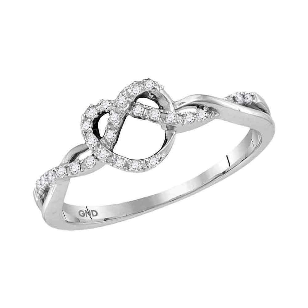 10kt White Gold Round Diamond Heart Pretzel Ring 1/8