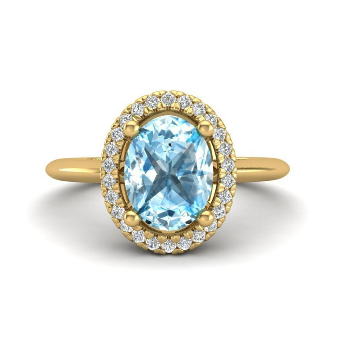 2 ctw Sky Blue Topaz & VS/SI Diamond Ring Halo 18K