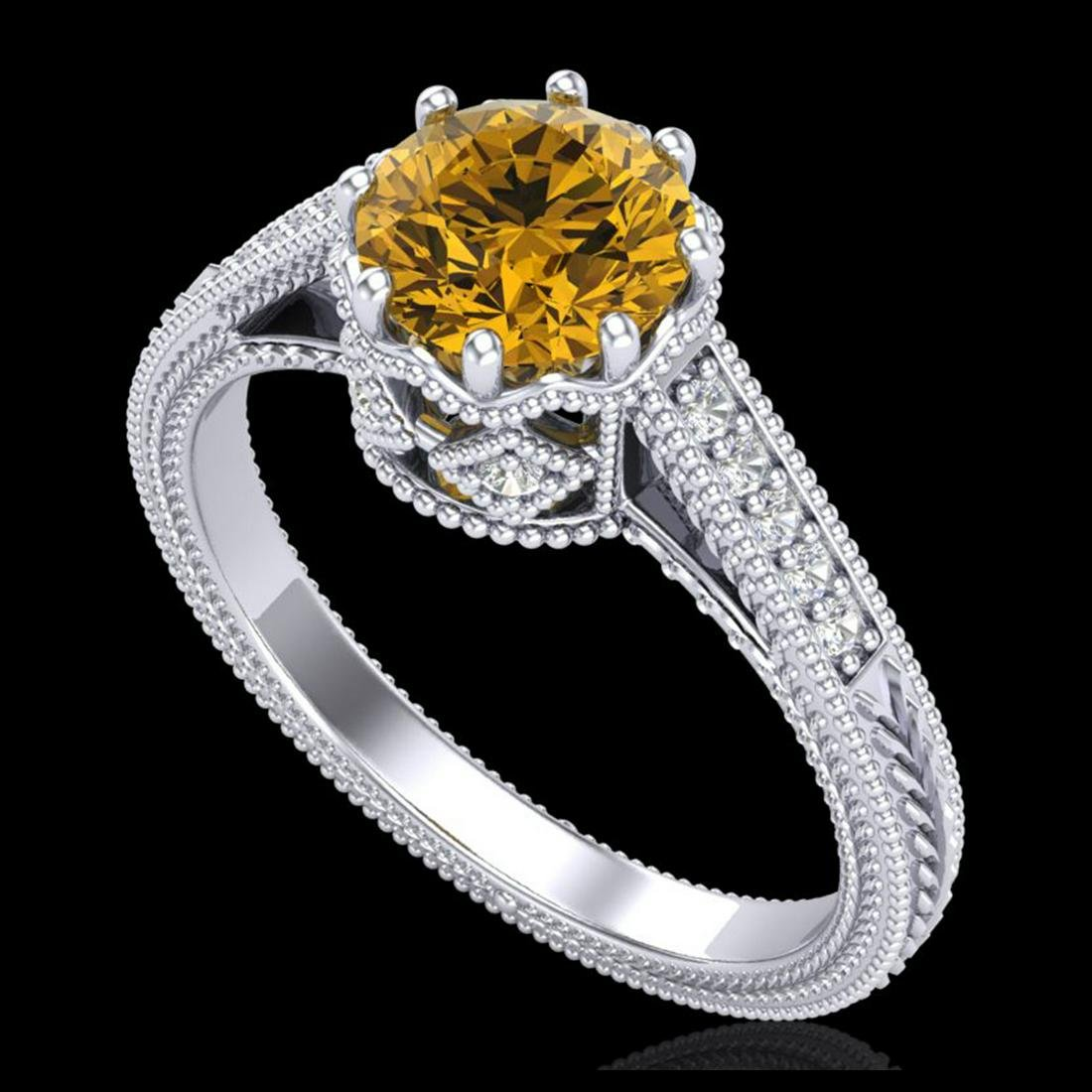 1.25 ctw Intense Fancy Yellow Diamond Art Deco Ring 18K