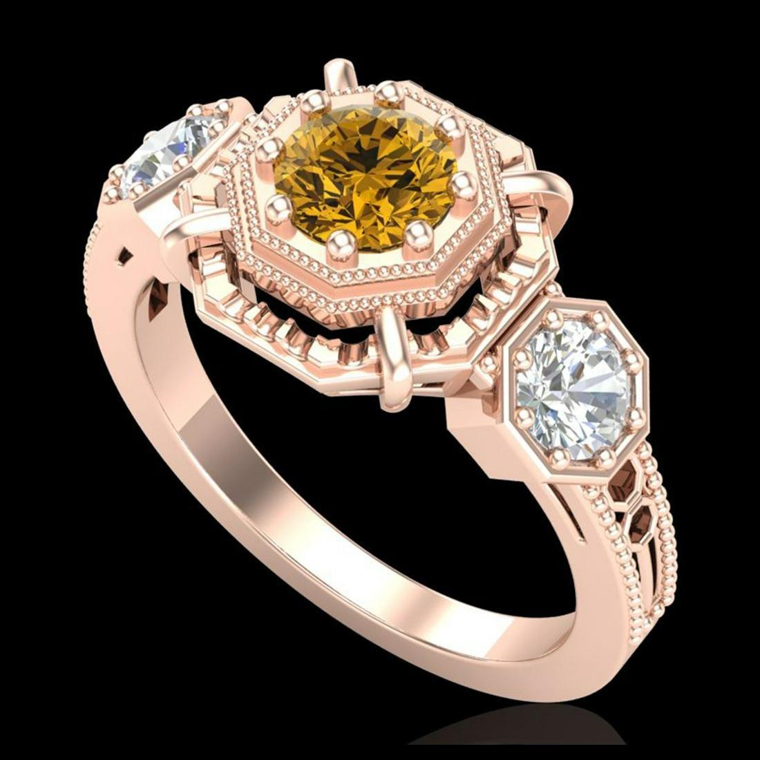 1.01 ctw Intense Fancy Yellow Diamond Art Deco Ring 18K