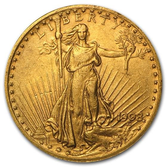 1908 $20 Saint-Gaudens Gold Double Eagle w/Motto XF