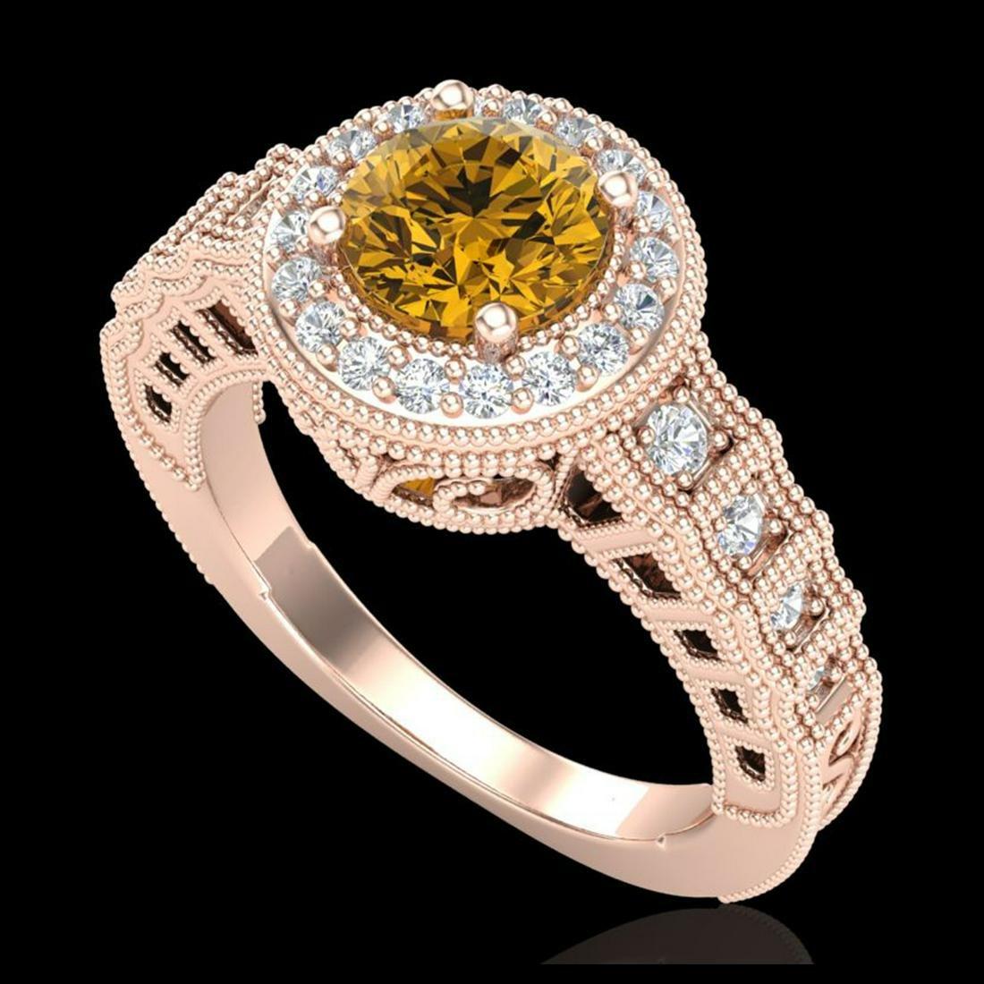 1.53 ctw Intense Fancy Yellow Diamond Art Deco Ring 18K