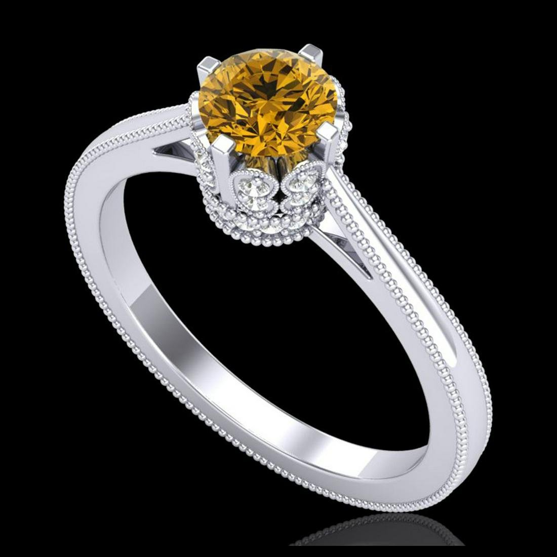 0.81 ctw Intense Fancy Yellow Diamond Art Deco Ring 18K