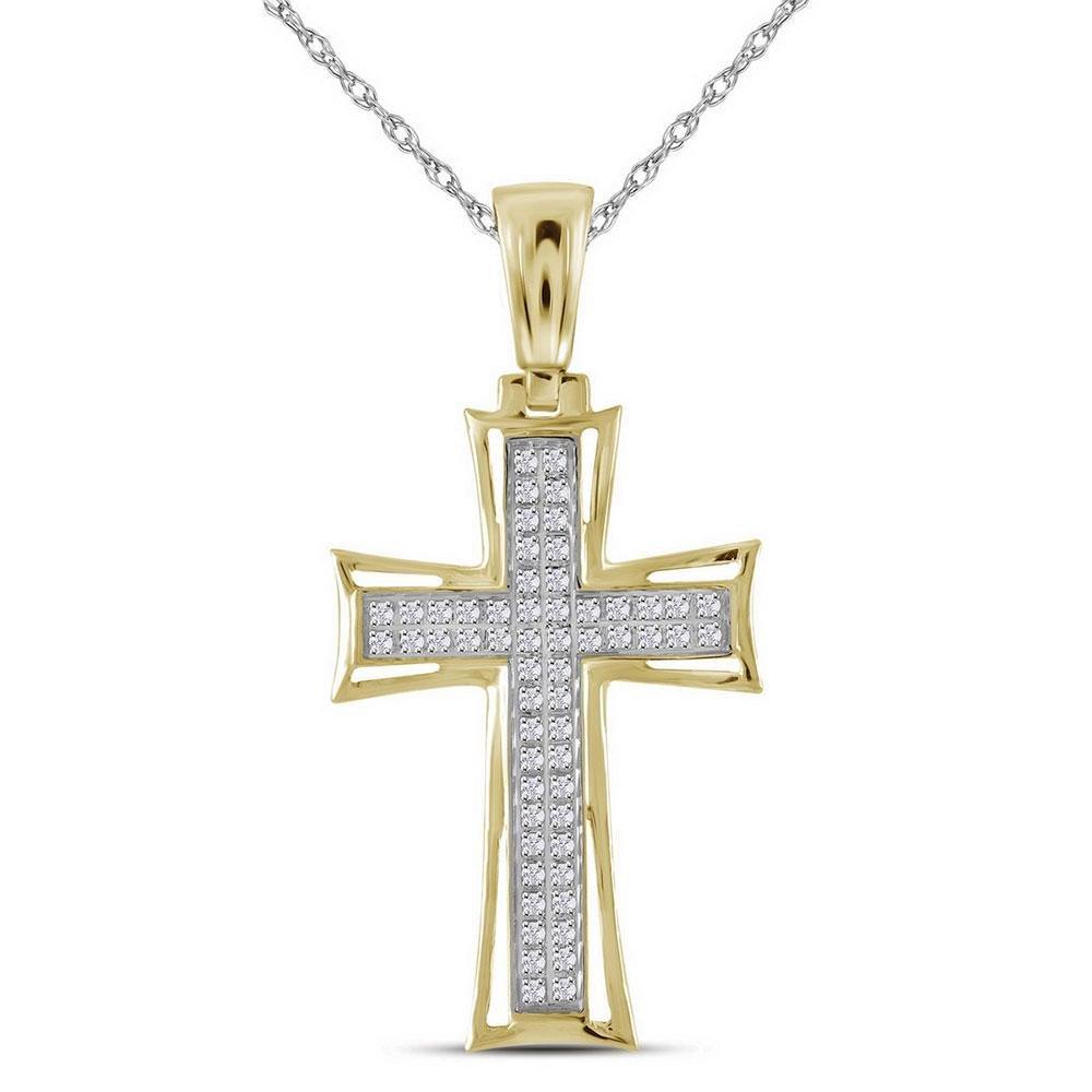 10kt Yellow Gold Mens Round Diamond Flared Cross Charm
