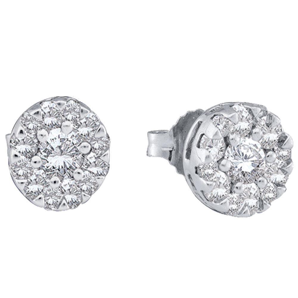 14kt White Gold Round Diamond Flower Cluster Earrings