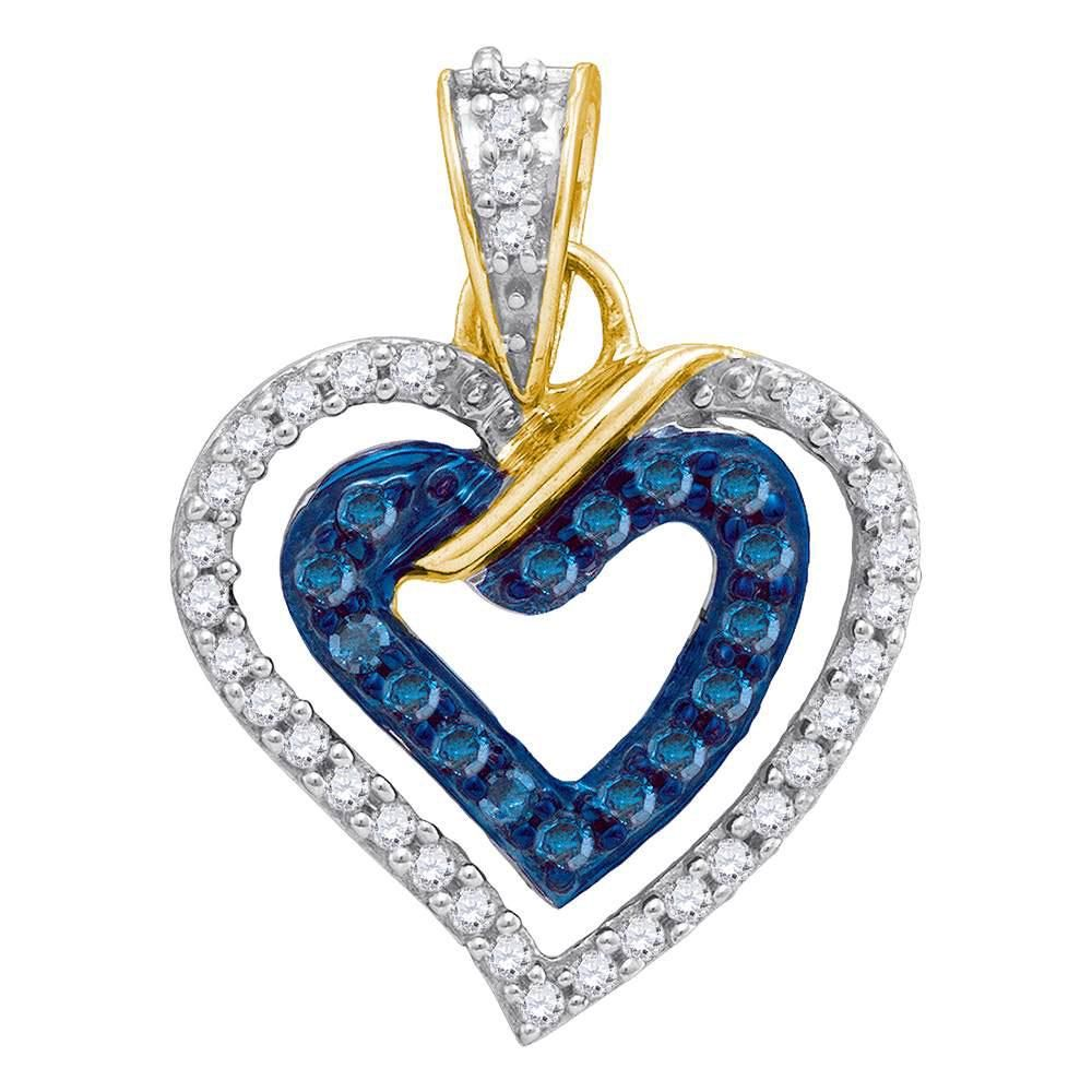 10kt Yellow Gold Round Blue Color Enhanced Diamond