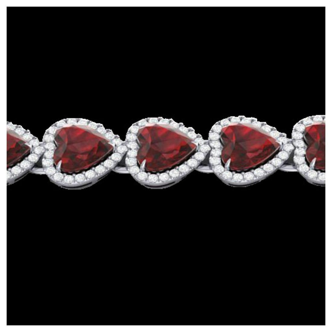 25 ctw Garnet & VS/SI Diamond Bracelet Heart 14K White