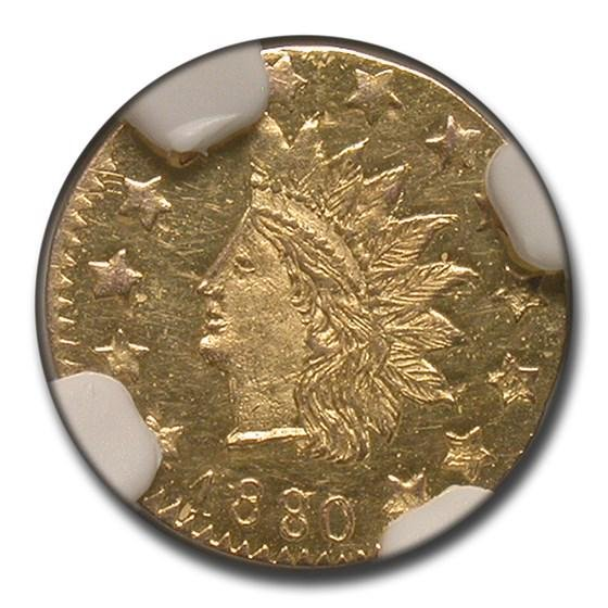 1880 8/7 Indian Round 50 Cent Gold MS-62 NGC (PL\,