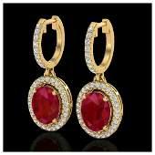 4.25 ctw Ruby & VS/SI Diamond Earrings Halo 18K Yellow