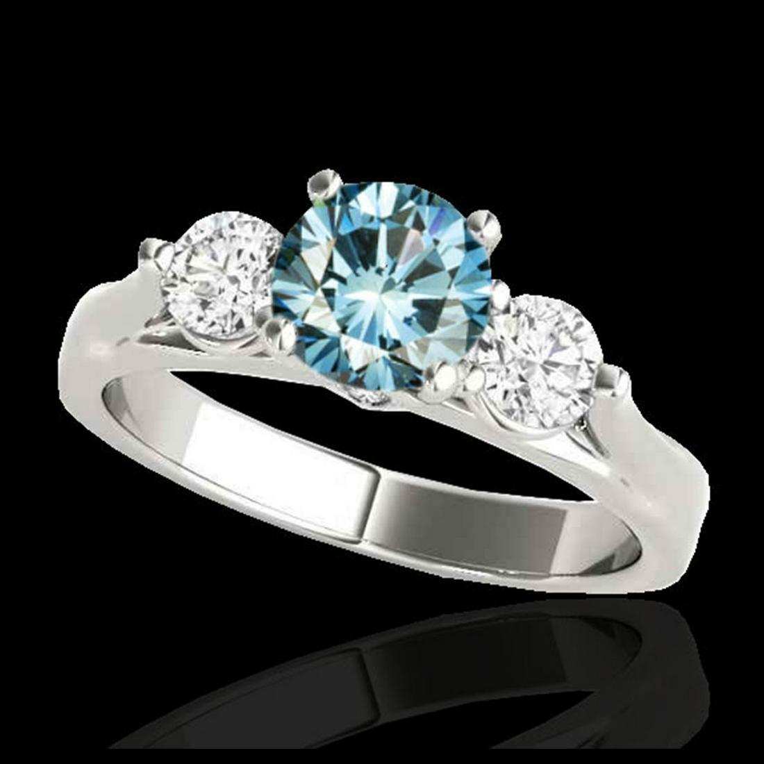 1.75 ctw SI Fancy Blue Diamond 3 Stone Ring 10K White