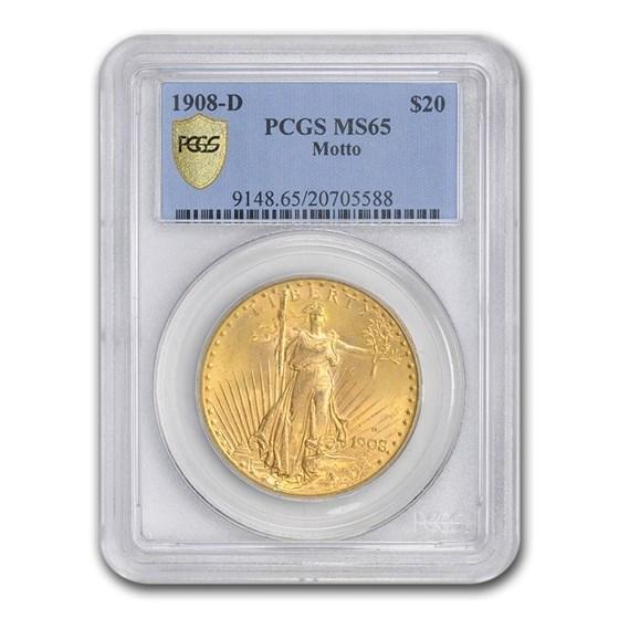1908-D $20 Saint-Gaudens Gold Double Eagle w/Motto