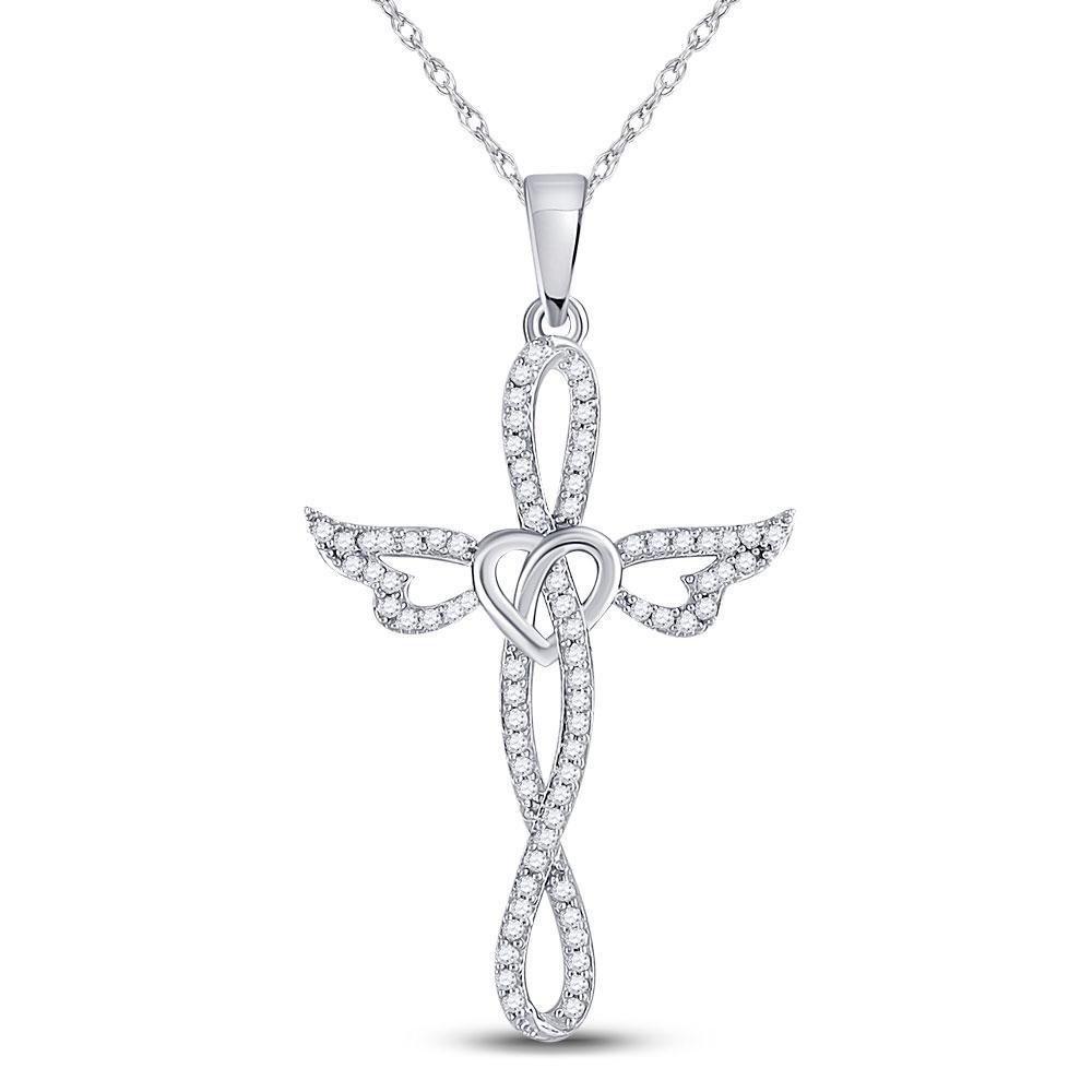 10kt White Gold Round Diamond Cross Heart Winged