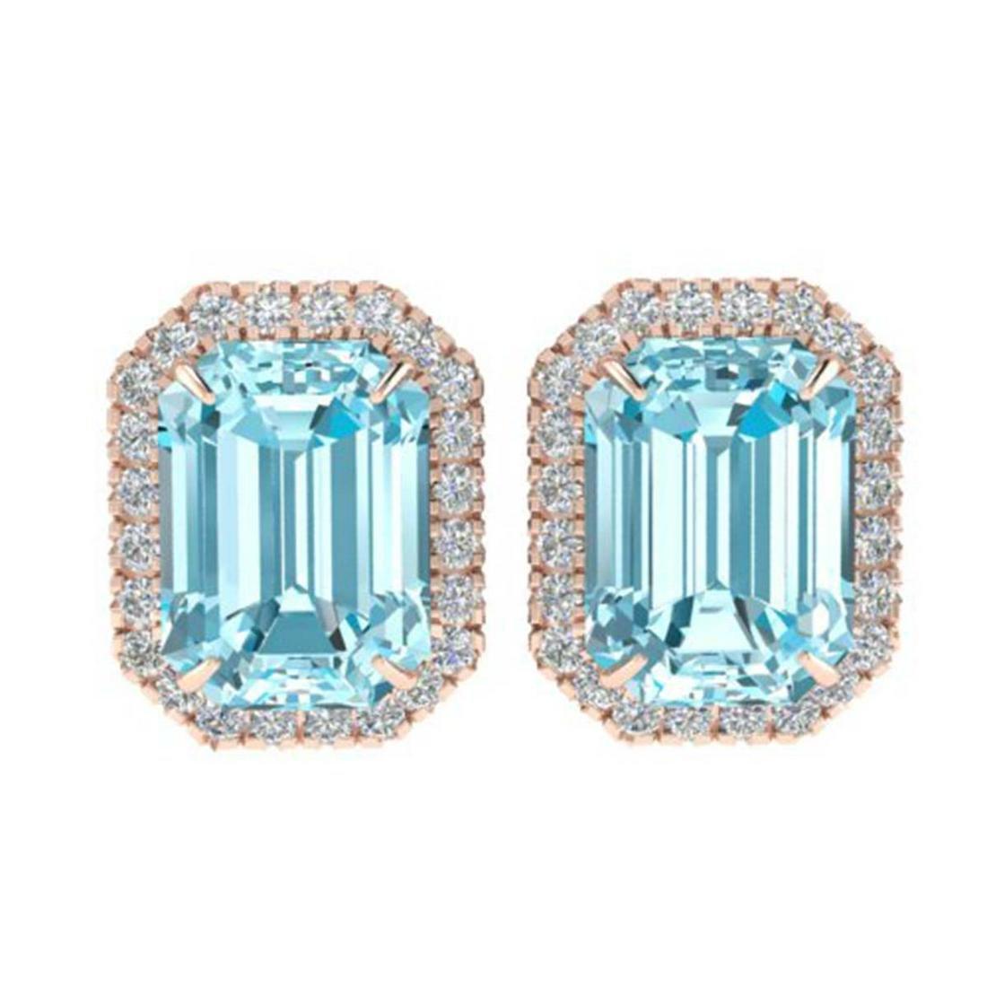 12 ctw Sky Blue Topaz And Diamond Earrings 14K Rose