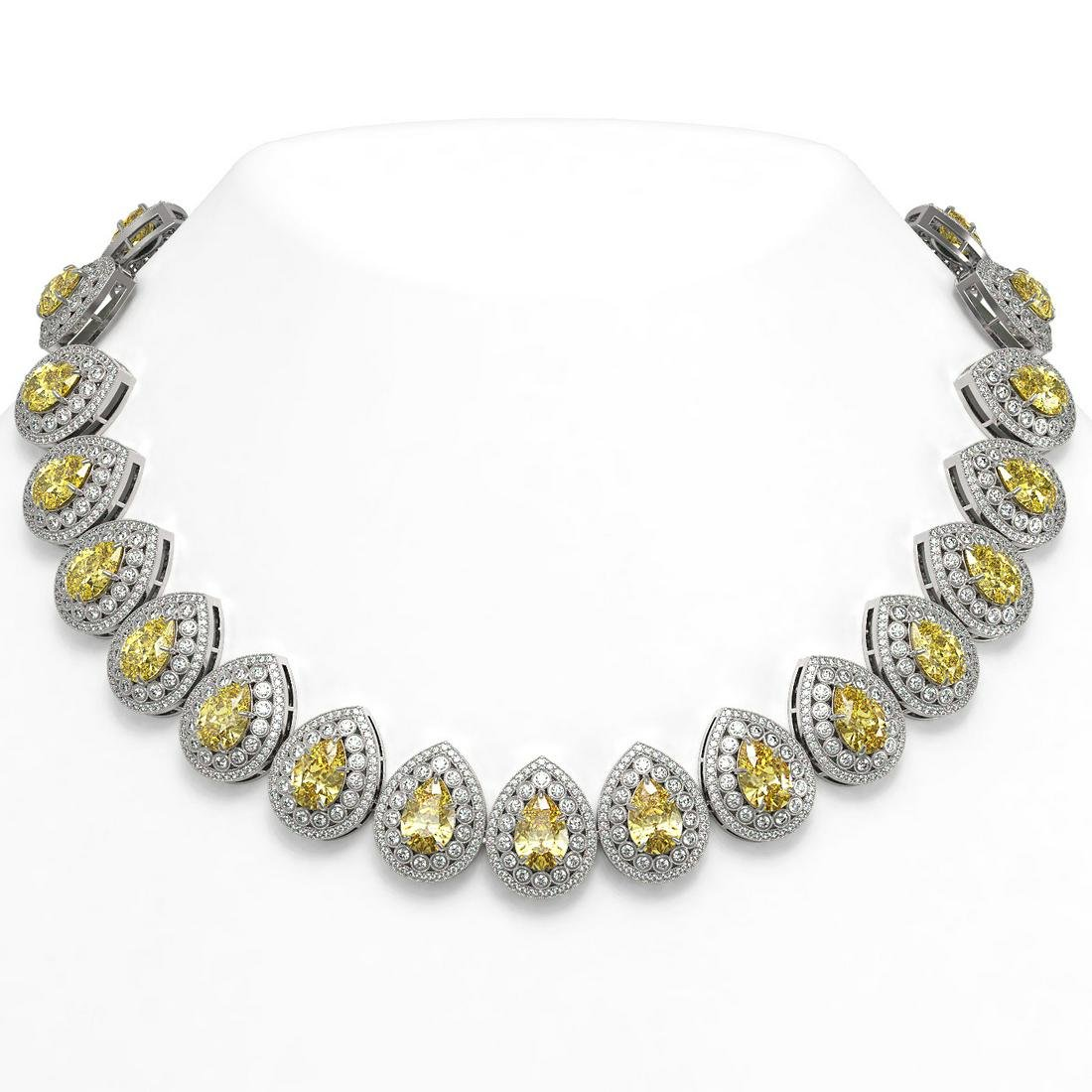 103.62 ctw Canary Citrine & Diamond Necklace 14K White