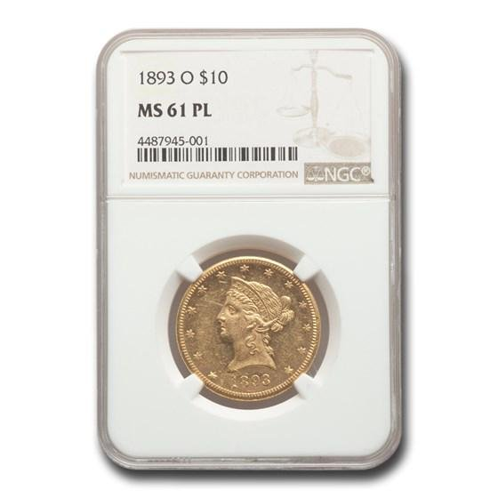 1893-O $10 Liberty Gold Eagle MS-61 NGC (PL)