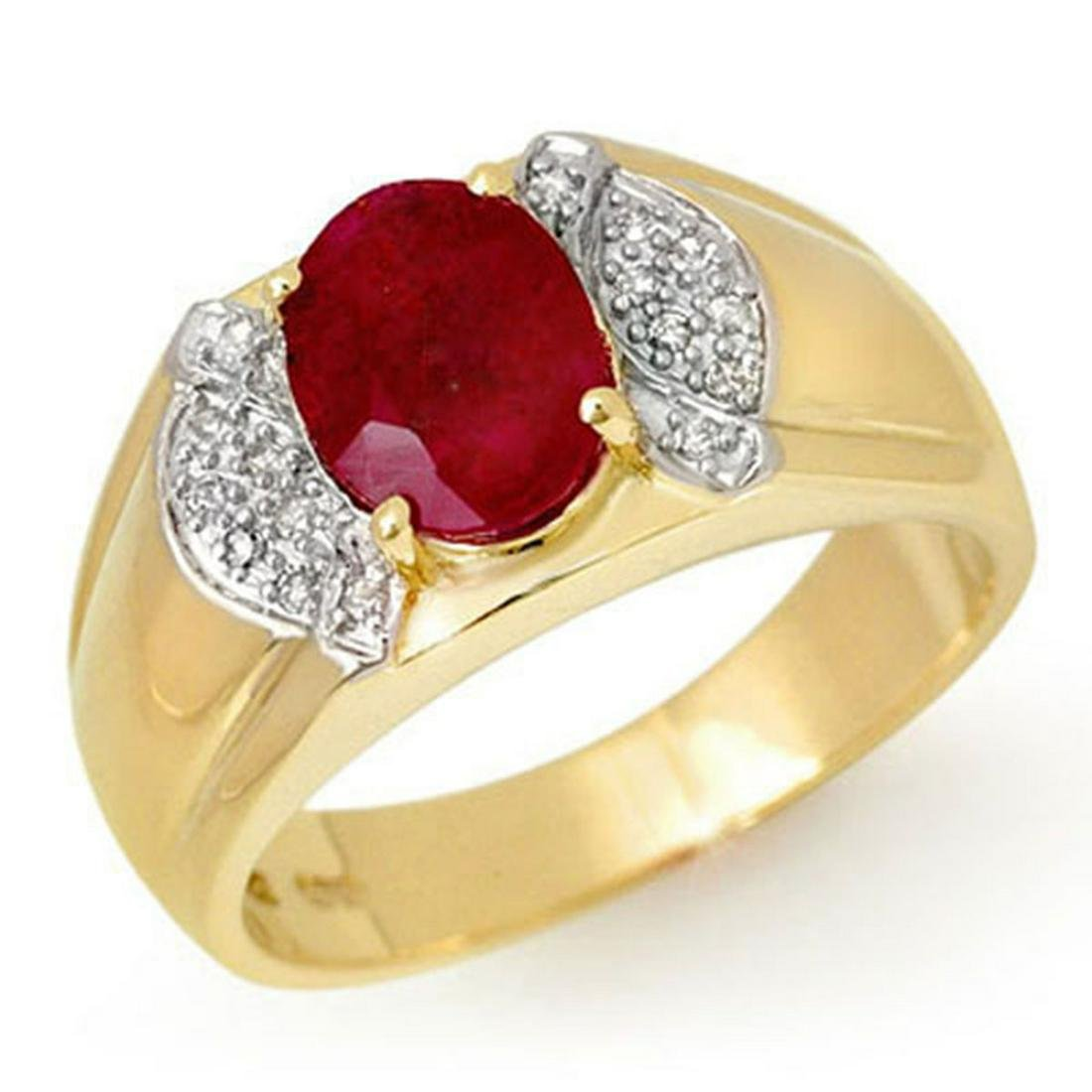 2.75 ctw Ruby & Diamond Men's Ring 10K Yellow Gold