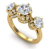 306 ctw VSSI Diamond Solitaire Art Deco 3 Stone Ring